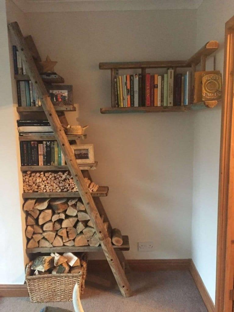 как да направим рафтове за книги от стълба