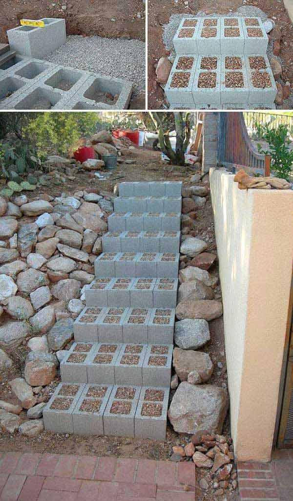 Стъпала в градината от циментови блокчета - как да направим стъпала в градината