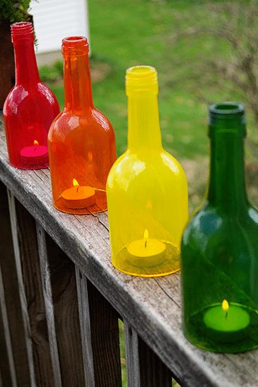 как да използваме празните бутилки - фенери от бутилки за вино