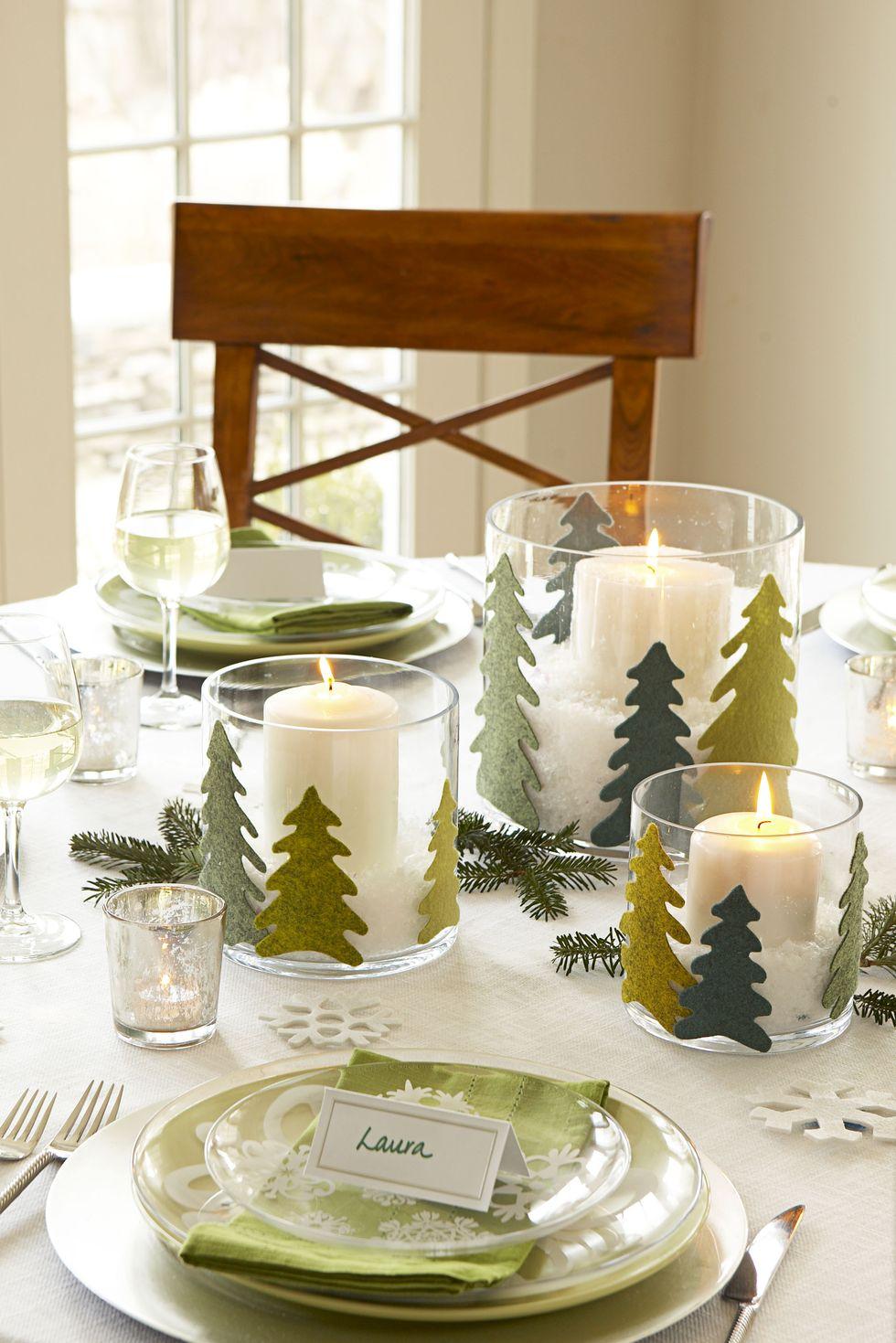 Свещи и дървета - как да украсим масата за коледа