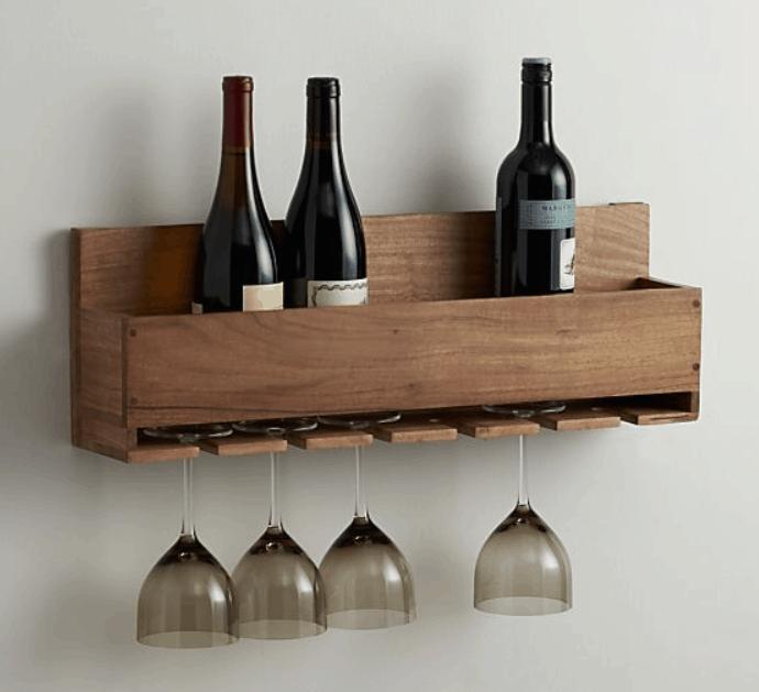 Рафт за вино + окачалка за винени чаши