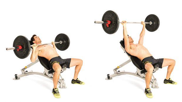 Изтласкване на щанга от наклонена лежанка - как да разширим гърба и гърдите