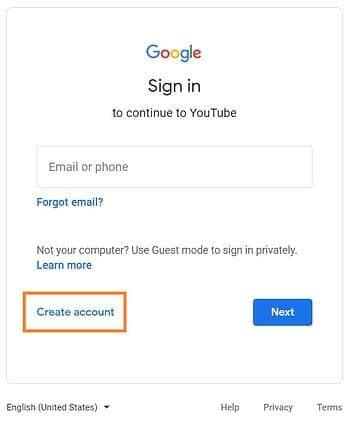 Създаване на акаунт в YouTube